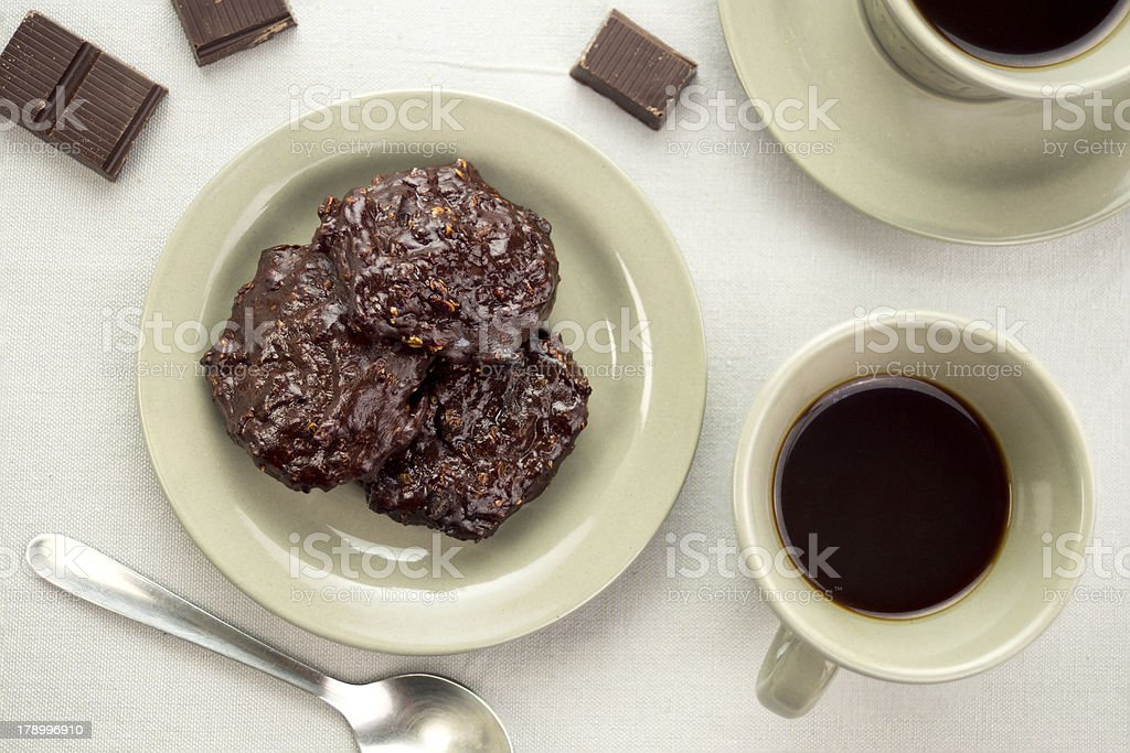 Black coffee with dark chocolate cookies royalty-free stock photo