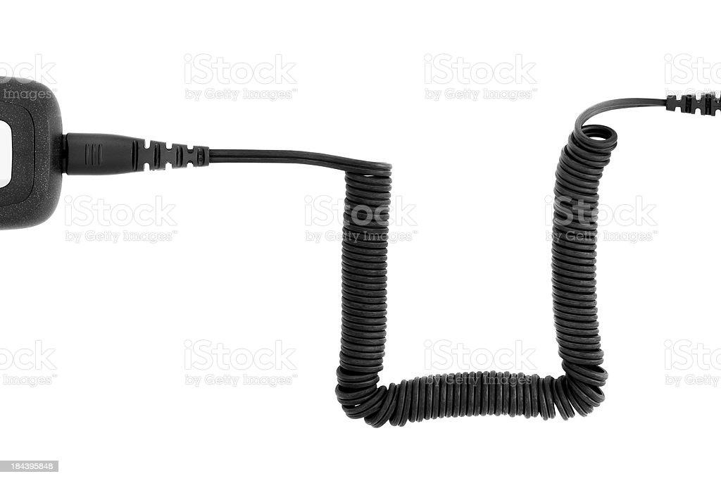 Black coiled razor cable on white stock photo