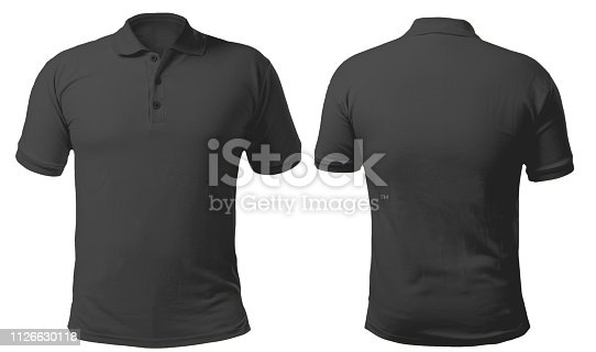 Blank collared shirt mock up template, front and back view, isolated on white, plain black t-shirt mockup. Polo tee design presentation for print.