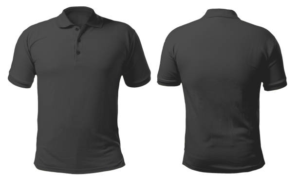 Black Collared Shirt Design Template Blank collared shirt mock up template, front and back view, isolated on white, plain black t-shirt mockup. Polo tee design presentation for print. black shirt stock pictures, royalty-free photos & images