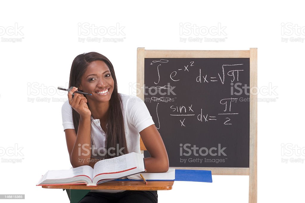 Black college student woman studying math exam royalty-free stock photo