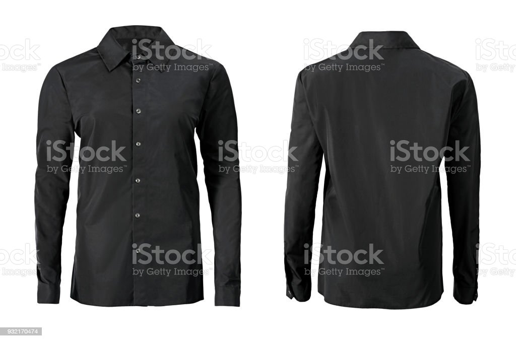 Black color formal shirt with button down collar isolated on white royalty-free stock photo