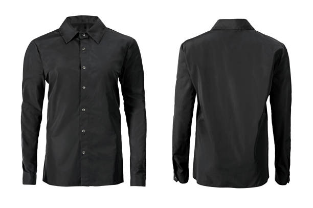 Black color formal shirt with button down collar isolated on white stock photo