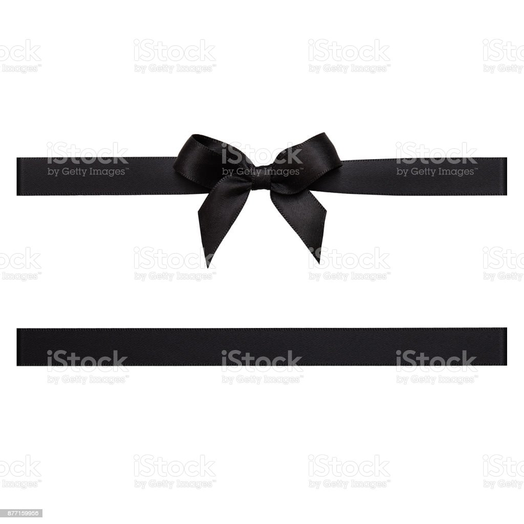 Black color gift ribbon tied in a bow on white background, cut out stock photo