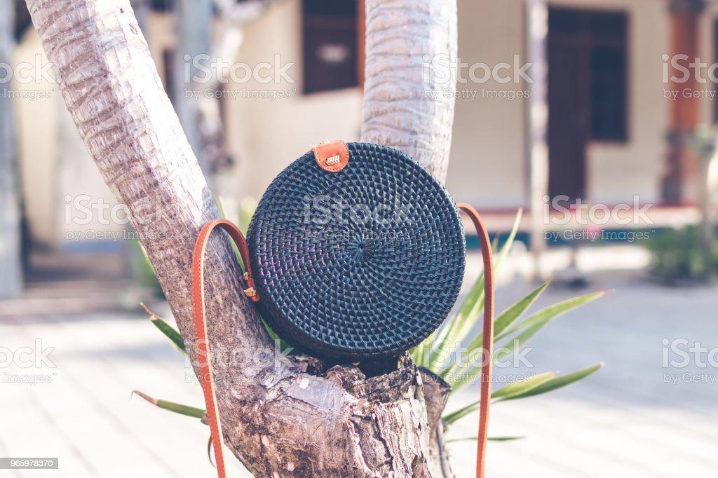Black color Natural organic handmade rattan handbag closeup - Royalty-free Backgrounds Stock Photo