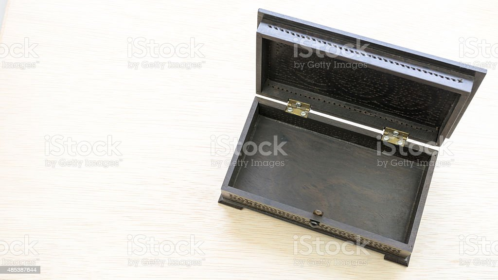 Black color vintage or traditional wooden jewellery or treasure box stock photo