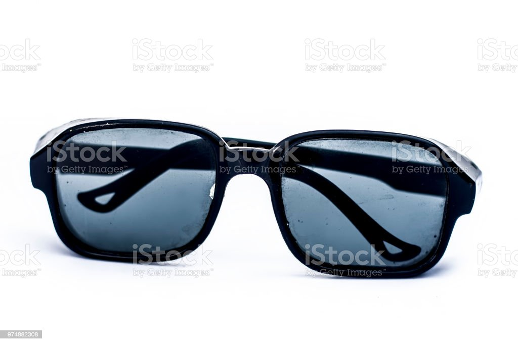 Black colored glasses wear after the cataract surgery isolated on white. stock photo