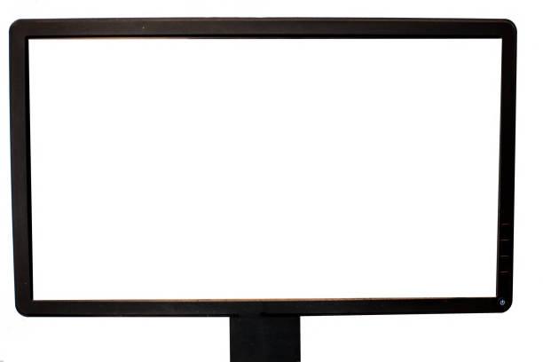 schwarz gefärbter lcd-computermonitor isoliert auf weiß mit leerem weißen bildschirm. - desktop hintergrund hd stock-fotos und bilder