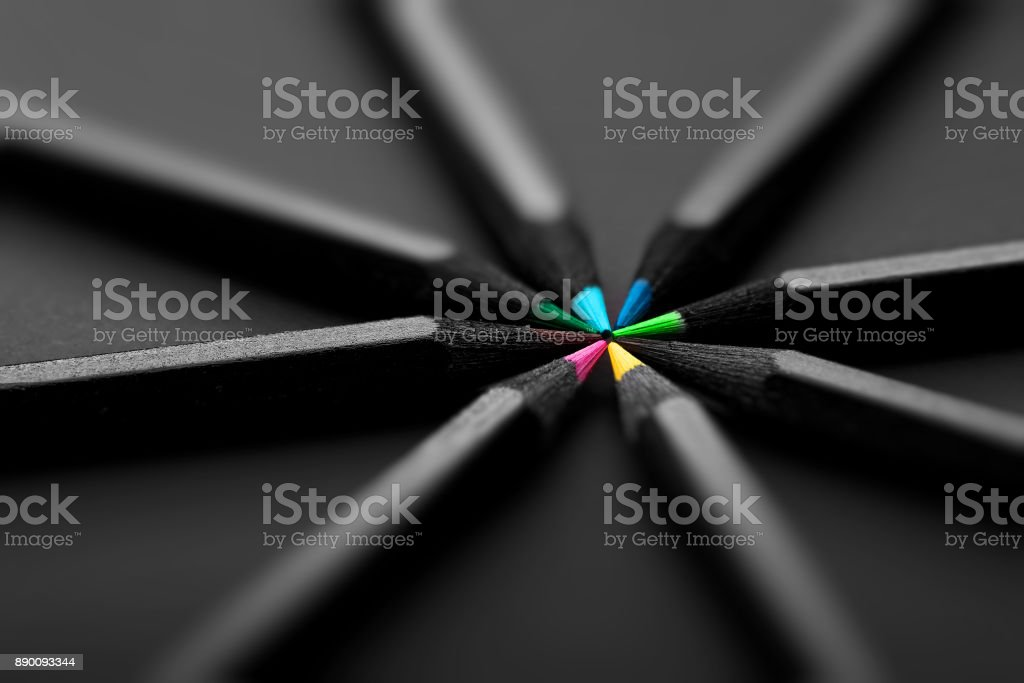 black, colored pencils, on black background stock photo