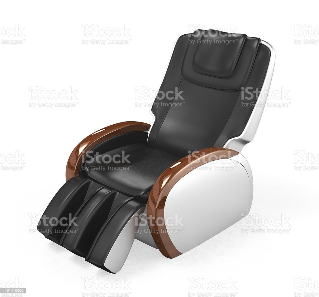 Black, comfortable, leather chair isolated on white stock photo