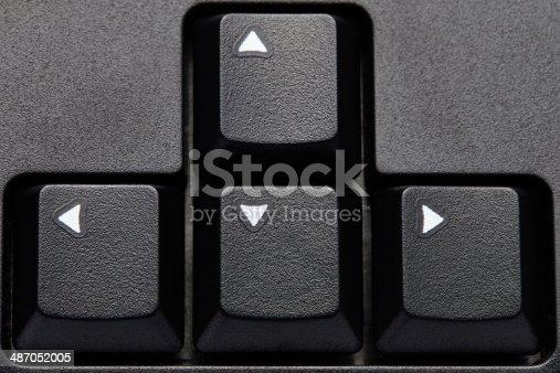 istock Black computer arrow keys closeup 487052005