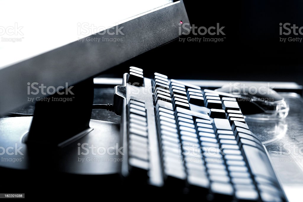 black Computer Desktop, keyboard and mouse royalty-free stock photo