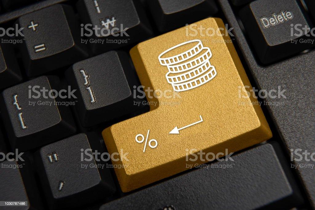 Black computer keyboard close-up. Bank, finance concept. Black computer keyboard close-up. Bank, finance concept Bank - Financial Building Stock Photo