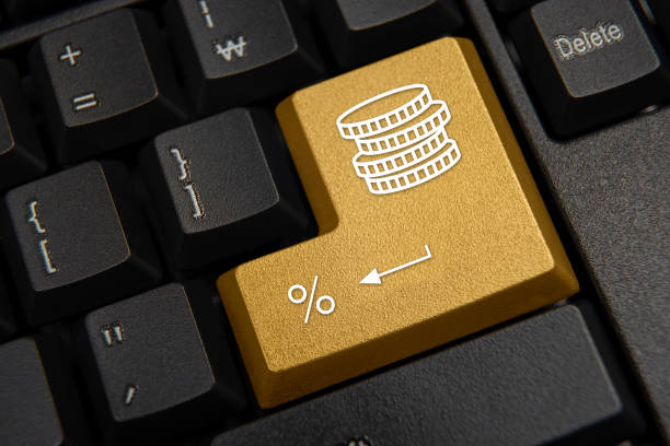 Black computer keyboard close-up. Bank, finance concept. stock photo