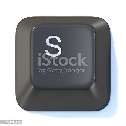 istock Black computer keyboard key Letter S 3D 1272693839