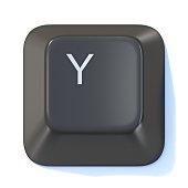 Black computer keyboard key Letter Y 3D render illustration isolated on white background