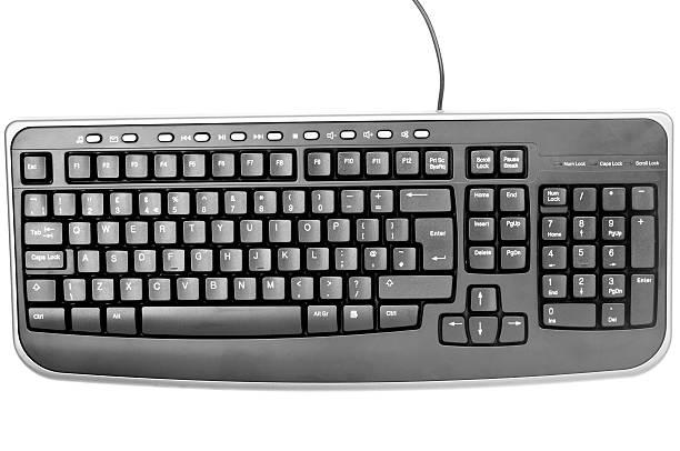 Black Computer Keyboard on White Background stock photo