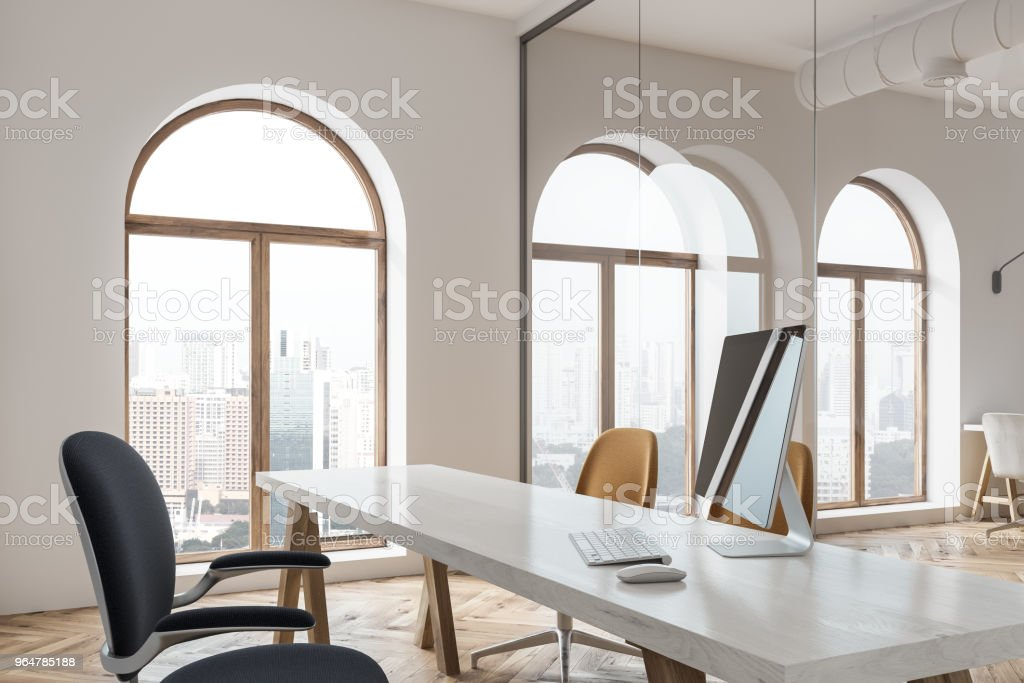 Black computer screen on a loft office table royalty-free stock photo