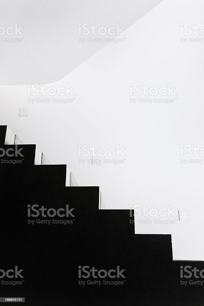 Black Concrete Staircase Modern Architecture royalty-free stock photo