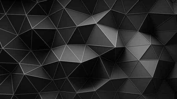 black construction with lines and low poly shape 3d rendering - triangle shape stock photos and pictures