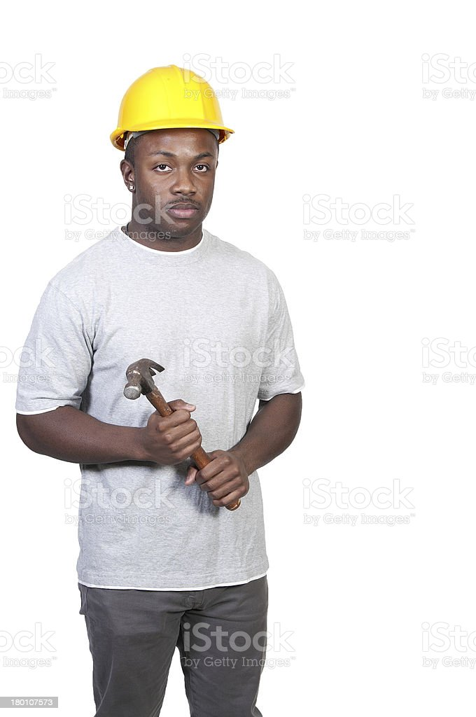 Black Construction Worker royalty-free stock photo