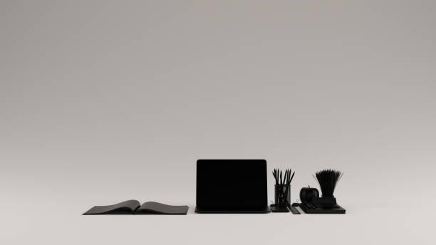 黑色當代熱桌面辦公室設置與筆記本電腦手機記事本筆雜誌計算機公牛剪輯 - 虛擬辦公室 個照片及圖片檔