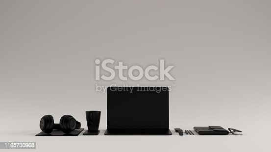 Black Contemporary Hot Desk Office Setup with Laptop Mobile Phone Headphones Notepad Sunglasses 3d illustration 3d rendering