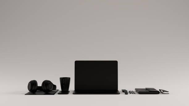 黑色當代熱桌面辦公室設置與筆記本電腦手機耳機記事本太陽鏡 - 虛擬辦公室 個照片及圖片檔