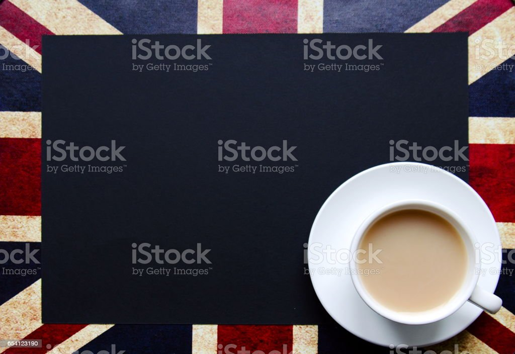 Black copy space for your text on background of British flag with a cup of tea stock photo
