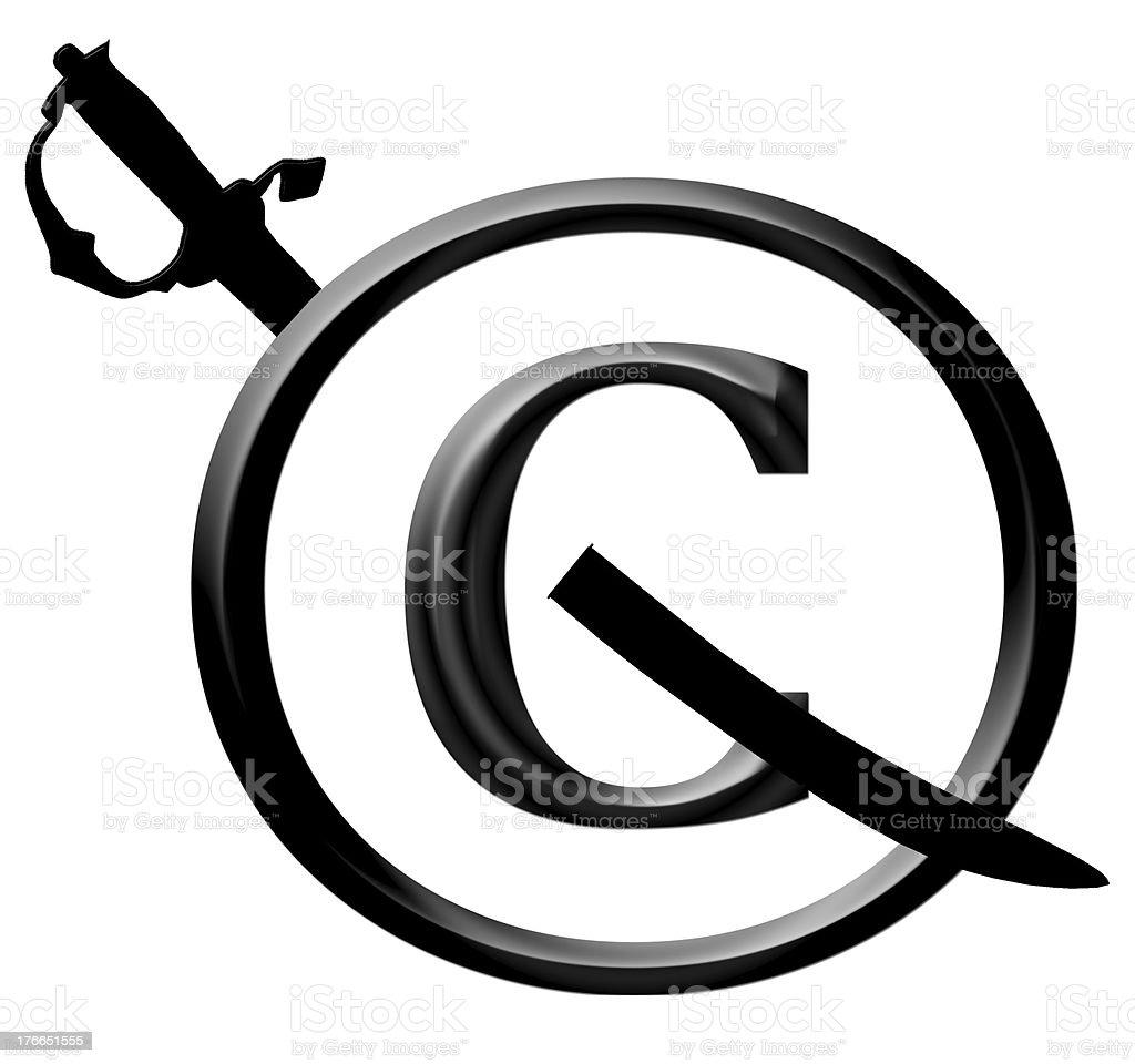 3D Black Copyright Infringement Notice Icon royalty-free stock photo