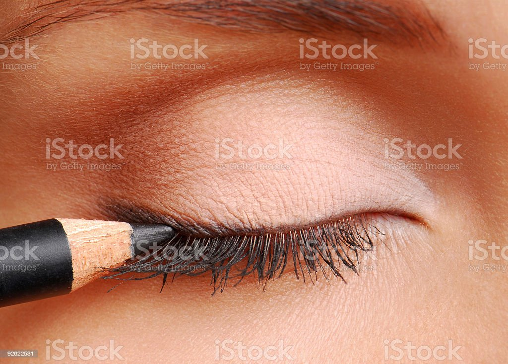 Black cosmetic pencil for eyes stock photo