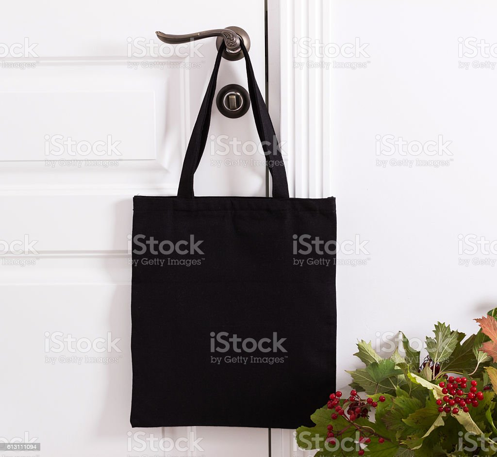 Black cotton eco tote bag, design mockup. - foto de stock
