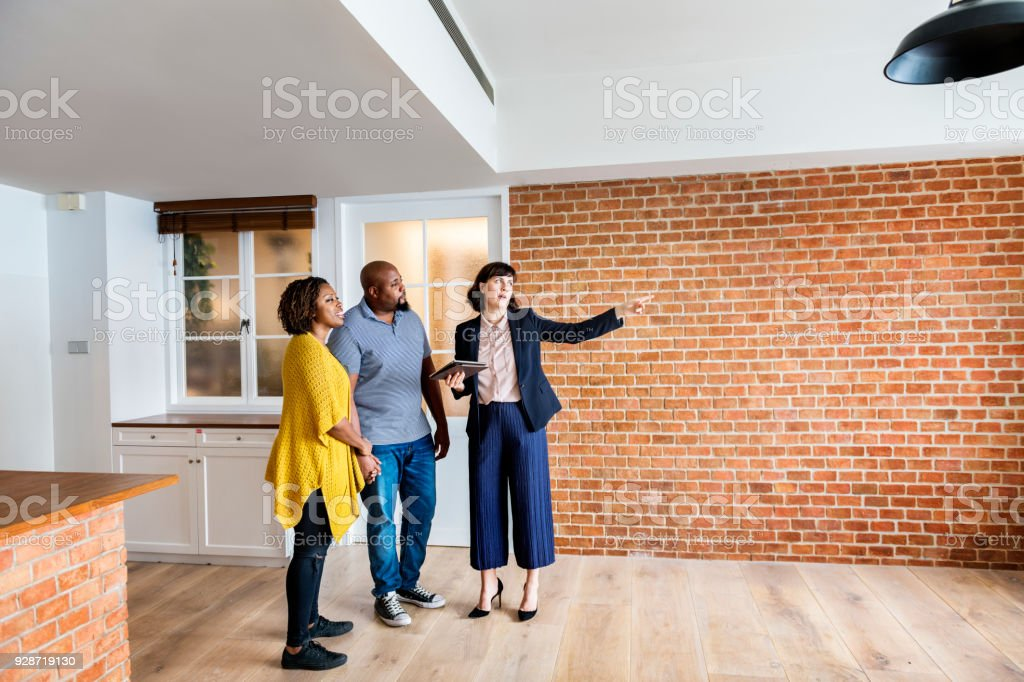 Black couple buy new house stock photo