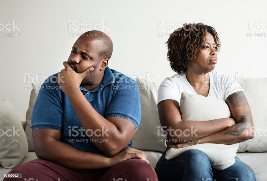 Black couple having an argument stock photo