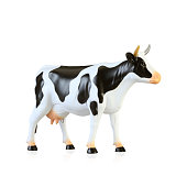 Animal plastic cow toy isolated on white background