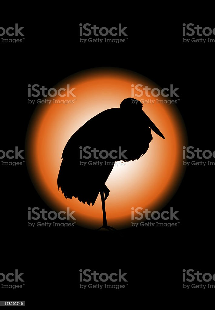 Black crane bird silhouette, with clipping path royalty-free stock photo