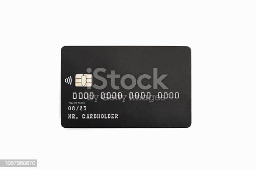 Black credit card isolated on white background