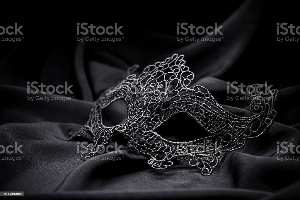 Black crochet carnival mask foto de stock royalty-free