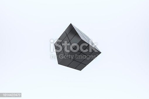1125351850 istock photo Black Cube 3d On A White Background 1014422472