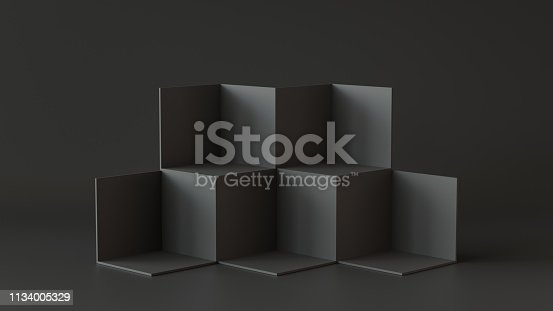 697820188 istock photo Black cube boxes with dark wall background. 3D rendering. 1134005329