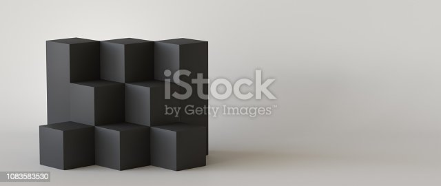 697820188 istock photo Black cube boxes with white blank wall background. 3D rendering. 1083583530