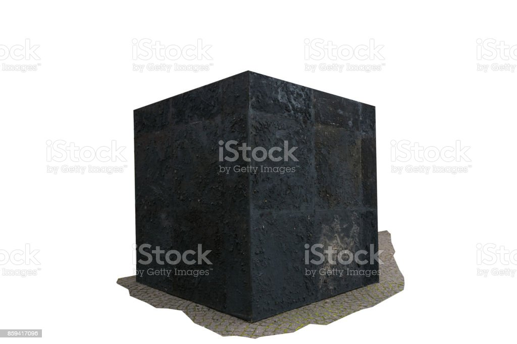 Black cube on a white background. стоковое фото