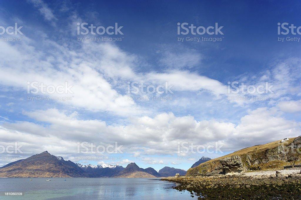 Black Cuillin and Loch Scavaig, Elgol , Scotland. stock photo