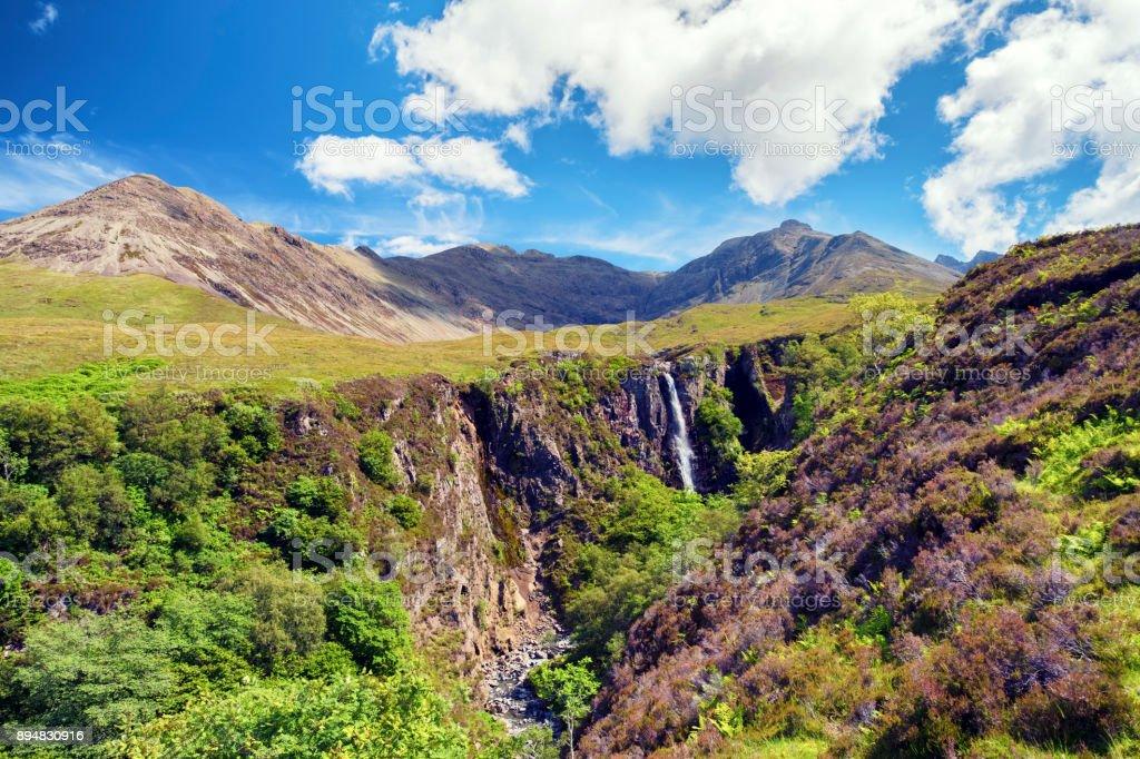 Black Cuillin mountain range , Scottish Highlands stock photo
