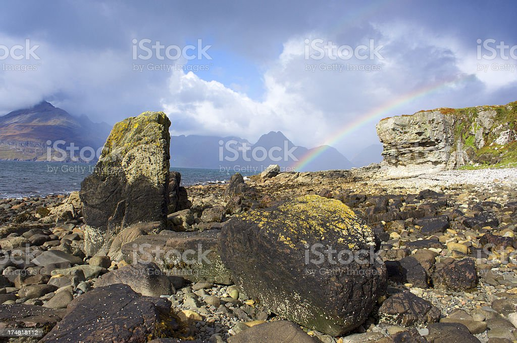 Black Cullins viewed acros Elgol with Rainbow. stock photo