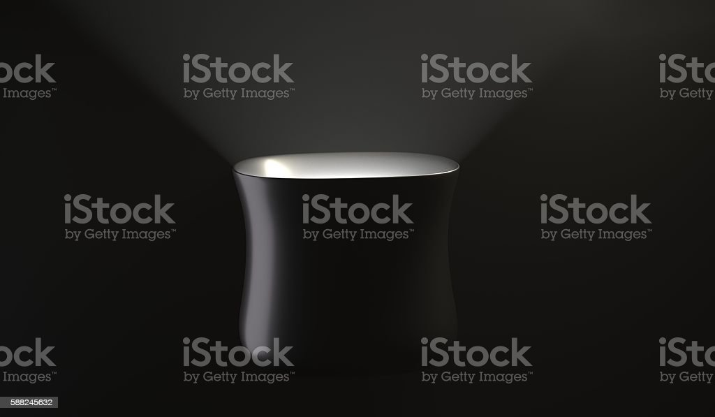 Black cup with light inside 3d illustration stock photo