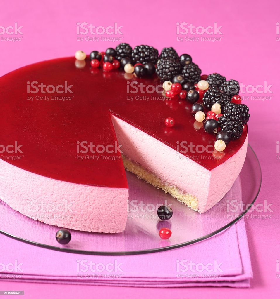 Black Currant Mousse Cake stock photo