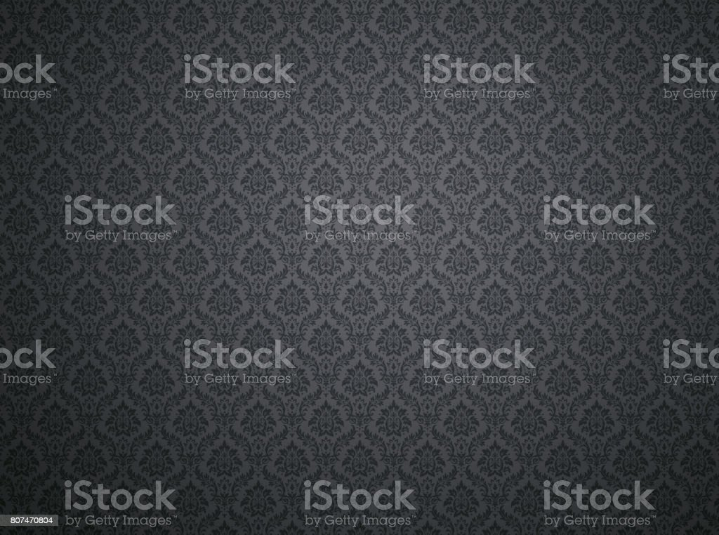 Black damask pattern background stock photo