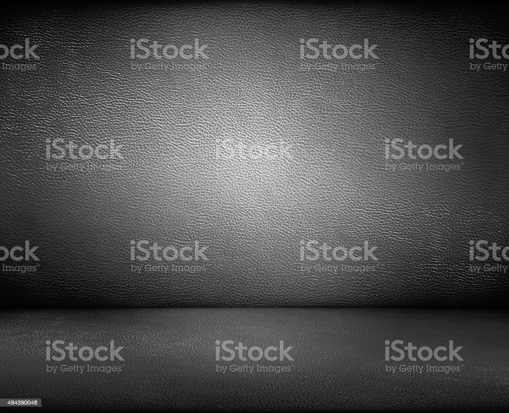 Black dark leather wall and floor background stock photo