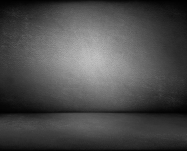 Negro de cuero oscuro fondo de pared y suelo - foto de stock